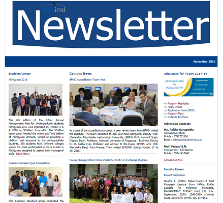 Monthly Newsletter 2016-17 | Sdmimd